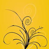 Flowers on yellow background. vector