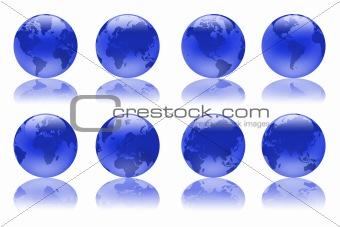 blue illustration globes