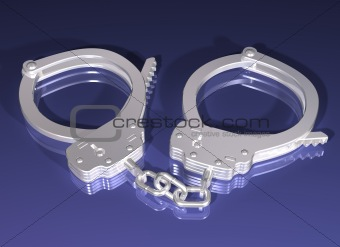 Pair of silver handcuffs