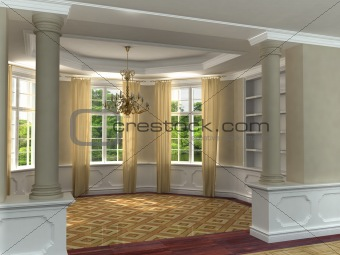 Classic 3D luxurious interior