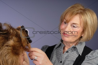 attractive older lady hair stylist