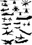 assorted helicopter and airplane silhouettes
