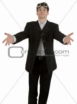 Portrait of young businessman in black suit