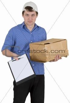 Man in baseball cap with cardboard box