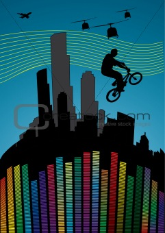 illustration with guy on a bmx. vector wallpaper