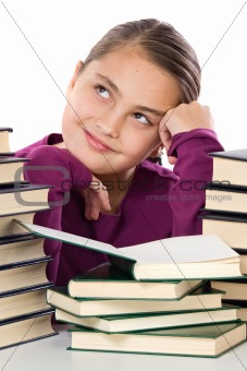 Adorable girl with many books thinking