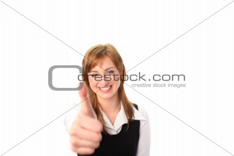 Business woman with her thumb up