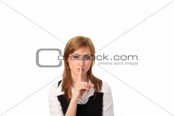 Business woman isolated against white