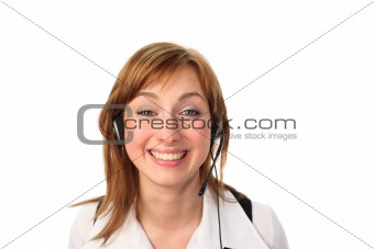 Business woman on headset