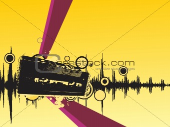 grunge audio cassette isolated on yellow, vector illustration