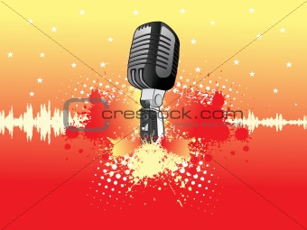 grunge background with shinning stars and microphone