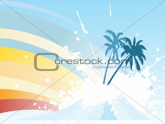 grunge background with tree and waves