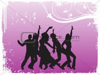 grunge frame of dancing  people, illustration