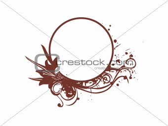 grunge frame with brown flowers