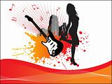 grunge music city background with lady and guitar
