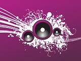 grunge purple party speaker, vector illustration
