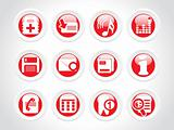 high quality rounded web symbols; red