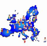 European Union map, flags and people