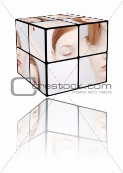 Portrait of the girl in a Rubic's cube