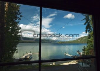 Bautiful Mountain, Lake and Dock View From Window.