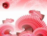 Red - pink waves