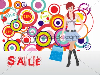 beautiful sexy shopping girl holding bag over fancy background, vector