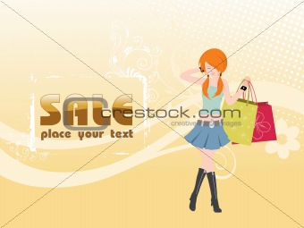 beautiful shopping girl with bags, floral vector