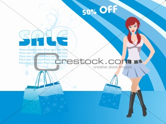 beautiful woman in cute short dress, shopping vector
