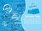 blue grunge background with fancy bags for 50% off sale, vector