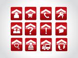 exclusive red set of web 2.0 Icon