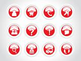 exclusive rounded red set of web 2.0 Icon