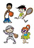 Four sport kids character