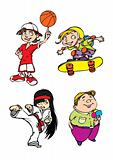 Four kids character