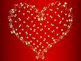 vector golden heart at red