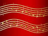 Vector waved golden music notes at the red background