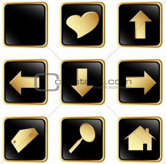 Black gold square web buttons