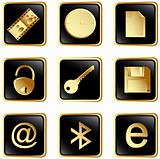Vector black square web buttons set 3