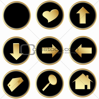 Black gold round web buttons