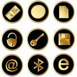 Vector black gold round web buttons set 3