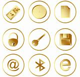 Vector gold round web buttons set 3