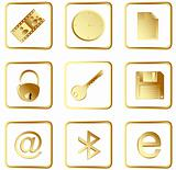 Vector gold square web buttons set 3