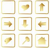 gold square web buttons