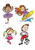 Four children characters