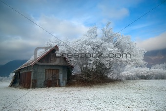Old hut in the winter