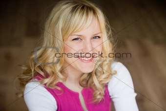 Portrait of the smiling blonde