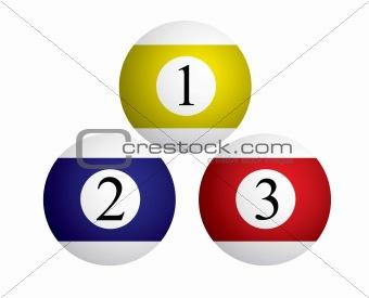 Three billiard balls, vector illustration