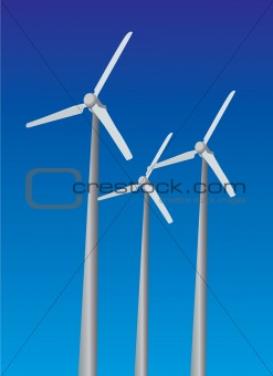 Wind power plants on sky background