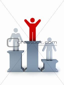 3d symbolic winner man on a pedestal