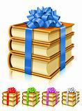 gift of books with color ribbon and bow