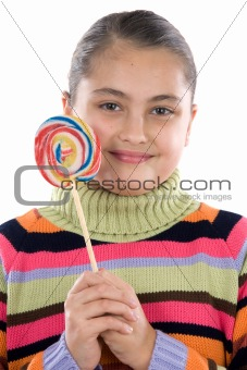 Adorable girl with a lollipop